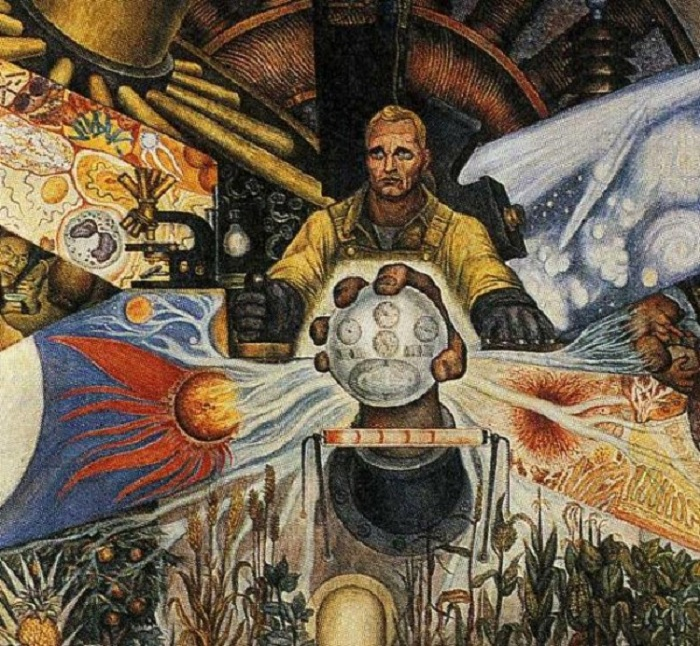 Человек, управляющий Вселенной. Фрагмент фрески. Автор: Диего Ривера.