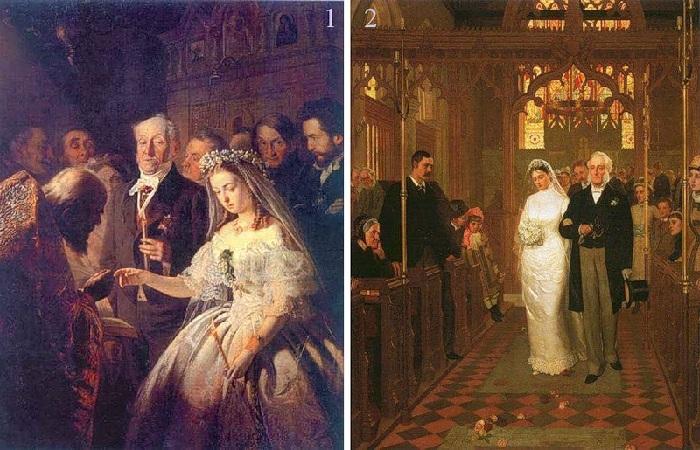 1. Василий Владимирович  Пукирев «Неравный брак» (1862). <br>2. Эдмунд Блэйер Лейтон «Пока смерть не разлучит нас» (1878).