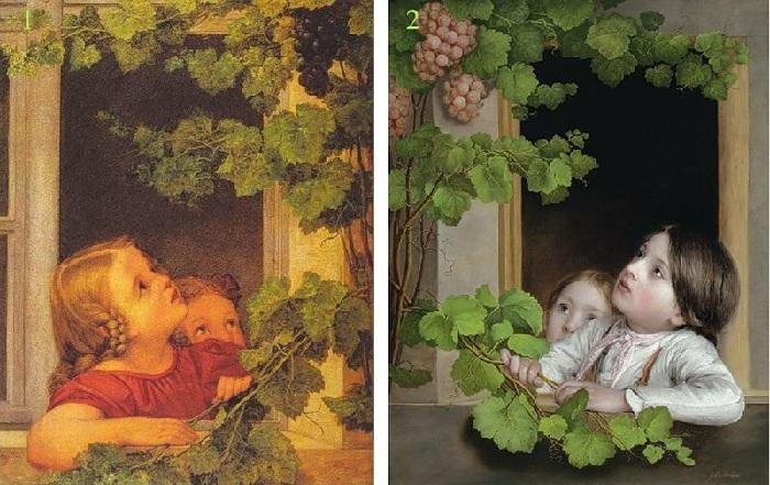 1. Георг Фридрих «Дети у окна» (1813). <br>2. Иоганн Батист Райтер «Дети у окна». (1865).