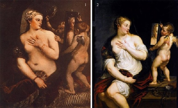1. Тициан «Венера у зеркала» (1554-55). National Gallery of Art, Washington. <br>2. Рубенс «Венера и Купидон». (1608). Музей Thyssen-Bornemisza, Мадрид, Испания.