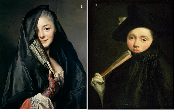 <br>1. Александр Рослин. «Портрет Marie-Suzanne Roslin». <br>2. Джованни Баттиста Тьеполо. «Дама в треугольной шляпе». (1755-60).