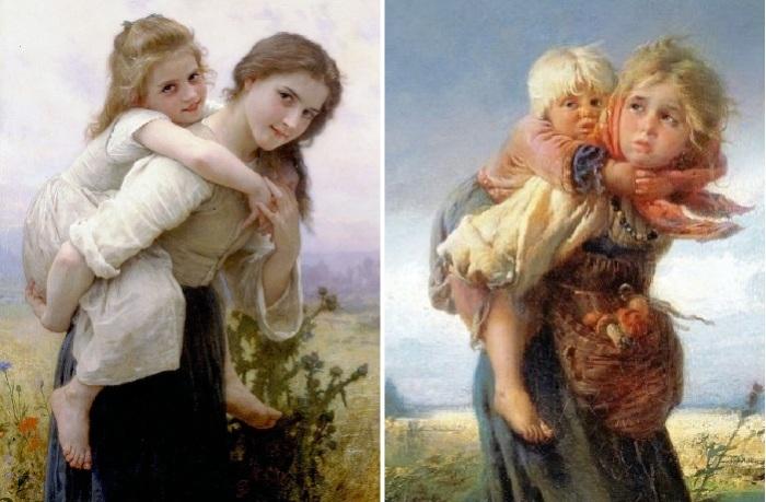 1.Адольф-Вильям Бугро. «Сестры». <br>2. Константин Маковский. «Дети, бегущие от грозы».