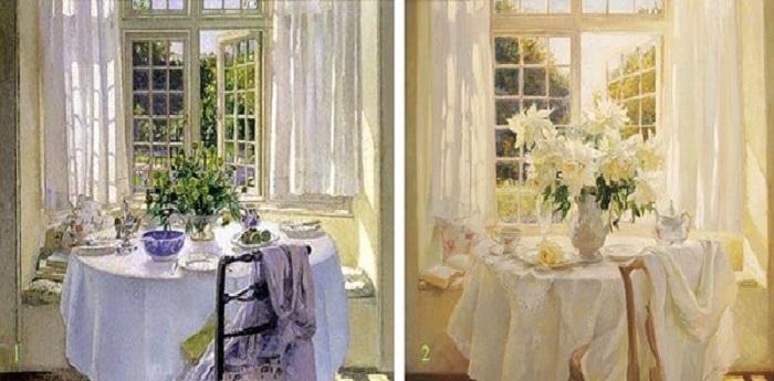 1. Патрик Уильям Адам. «Утренняя комната». (1916). <br>2. Мария Щербинина. «После завтрака». (1990).