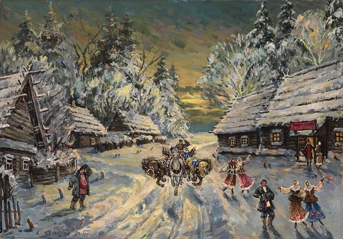 Святочные гуляния. Автор: Константин Коровин