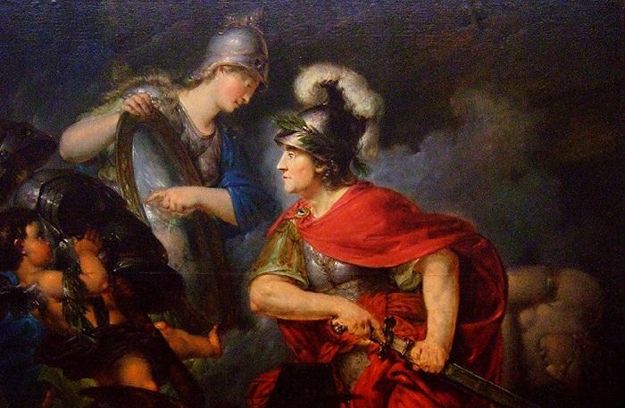 Афина вручает Персею зеркальный щит. Автор: Бернхард Роде.
