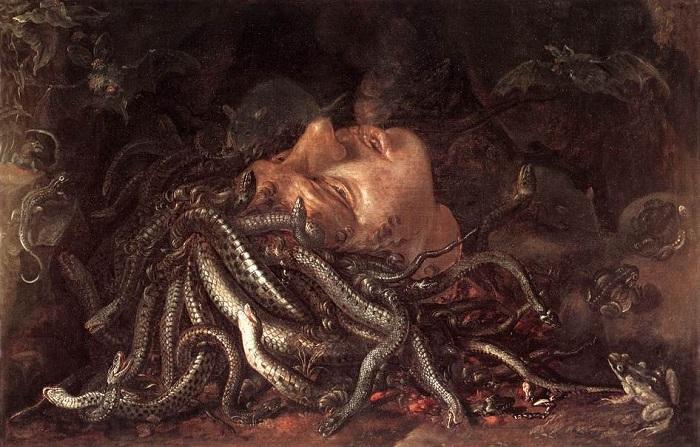 Голова горгоны Медузы. Автор: Леонардо да Винчи.