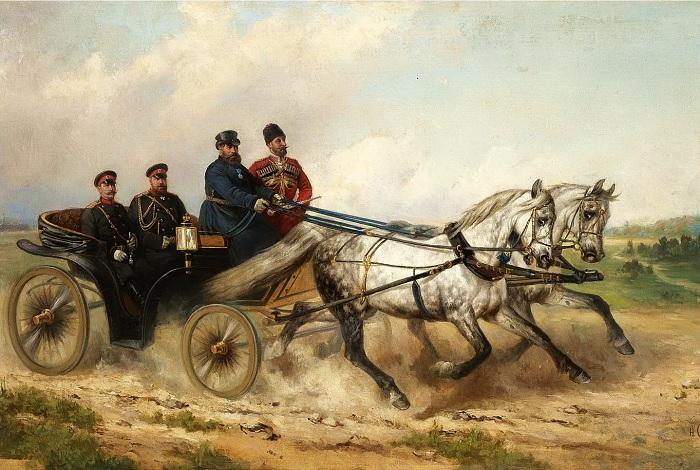 «Выезд царя Алексея Михайловича на смотр воинства в 1664 году». Автор: Н.Е.Сверчков.
