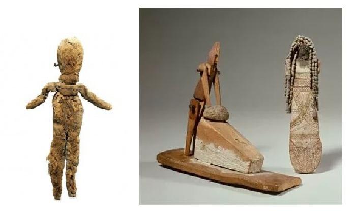 IV–III век до н. э. Тряпичная набивная фигурка из льняного полотна и набитая папирусом /. Деревянные куклы. 2080–1990 года до н. э.