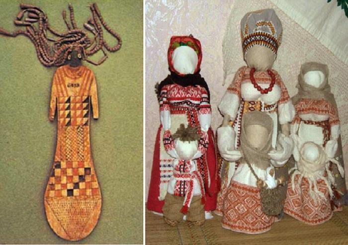 Древнеегипетская кукла-оберег 2100 -1700 годы до нашей эры./ Современные мотанки-обереги.