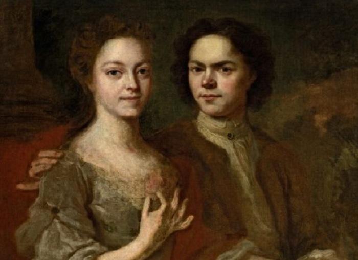 «Матвеев Андрей, первый Русский живописец, и его супруга. Писал сам художник».(1729). Автор: А.Матвеев.