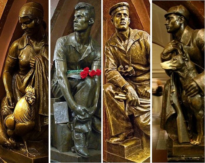 Бронзовые скульптуры на станции метро «Площадь Революции»