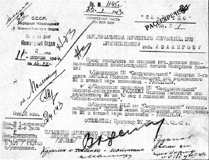 Приговор, вынесенный командному составу эсминца «Сокрушительный» в 1942 году.