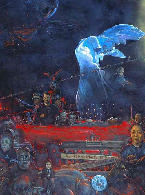 Фрагмент полотна «Мистерия XX века». ( А.Эйнштейн, Э.Хемингуэй, Л.Армстронг, Ч.Чаплин, И.Сталин, У.Черчилль, Ф.Рузвельт, Б.Муссолини, А.Гитлер, М.Цзэдун).  Автор: И.С.Глазунов.