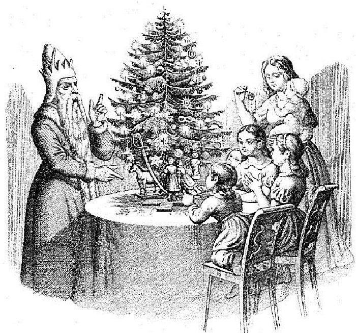 Это одна из старых немецких гравюр, на которой дети и сам Санта Клаус собрались у «дерева Клауса». Гравюра из немецкой книги «50 басен с картинками для детей».