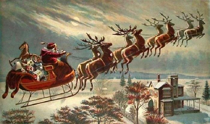 Санта Клаус на оленях.