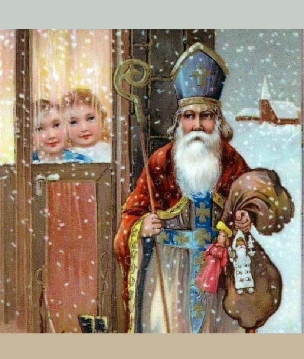 Святой Николай, разносящий подарки детворе под Новый год.