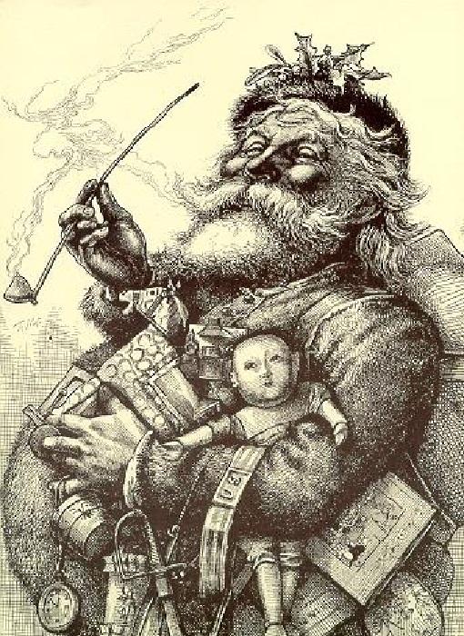 Санта-Клаус. Иллюстрация Томаса Наста к стихотворению Клемента Мура.