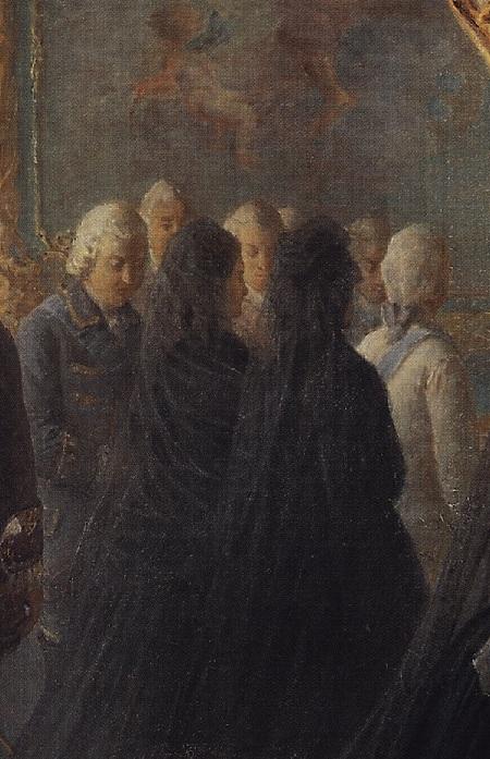 «Екатерина II у гроба императрицы Елизаветы».Фрагмент. Автор: Николай Ге