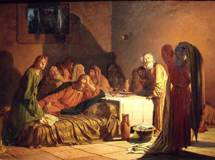 «Тайная вечеря».  (1863). Автор: Николай Ге.