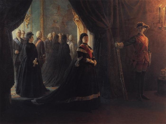«Екатерина II у гроба императрицы Елизаветы». (1874).Автор: Николай Ге.