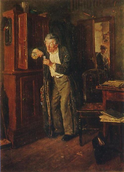 Владимир Маковский. «Тихонько от жены». 1872 г.