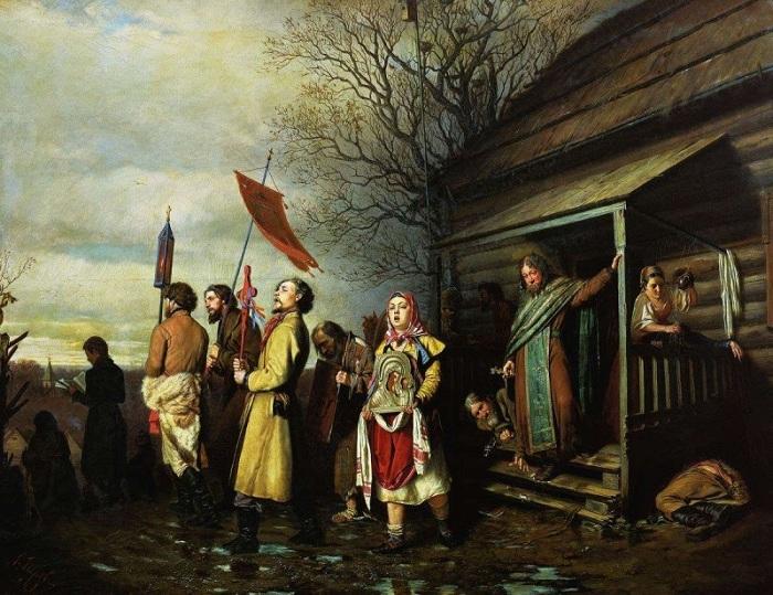 Василий Перов. «Сельский крестный ход на Пасху». 1861 г.