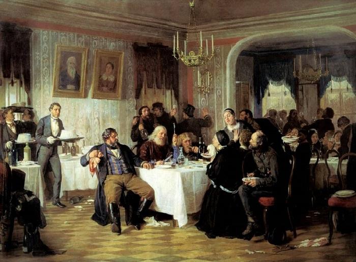 Фирс Журавлев.«Купеческие поминки».1876 г.