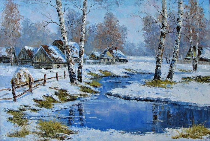 «Первые проталины». Автор:Евгений Синев.