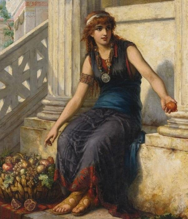 Торговка фруктами в Помпеях. Автор: Жозеф Команс.