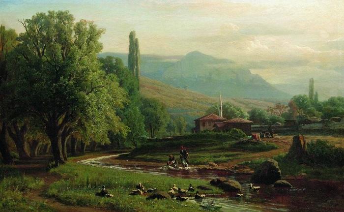 Крымский  летний пейзаж. (1870 год). Автор: Владимир Орловский.