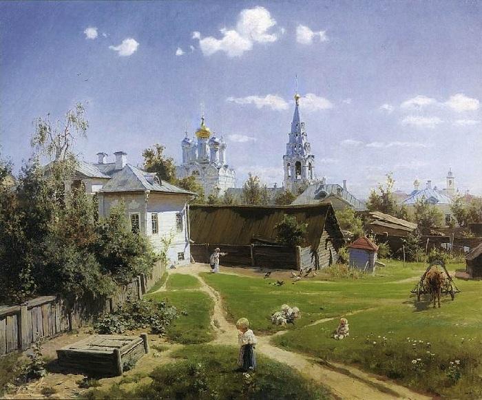 Московский дворик. Автор: Василий Поленов.