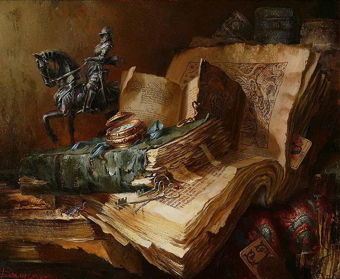 Старинные книги и статуэтка рыцаря. Автор: Иван Славинский