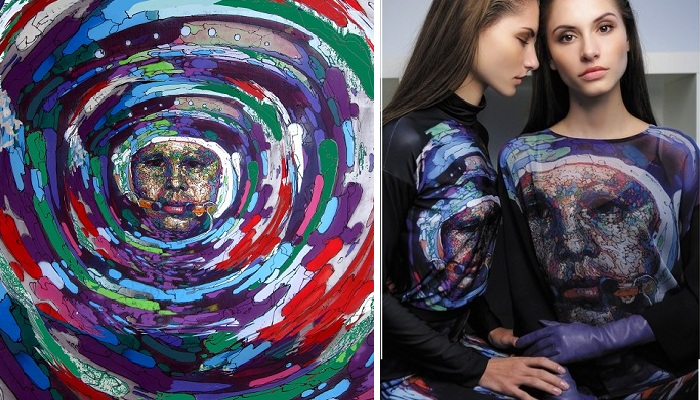 Портрет Гагарина на принте ткани женской одежды¦ Фото: saratov-room.ru