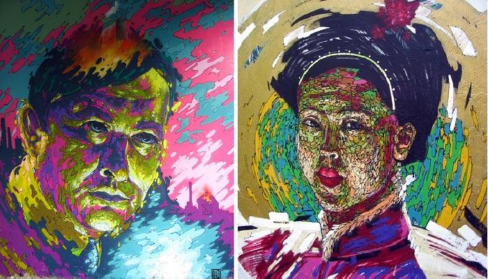 Портреты стрит-арт от Романа Мураткина¦ Фото: photo.qip.ru