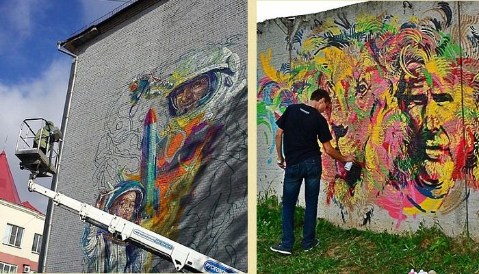 Уличный художник Remo за работой ¦ Фото: downtown.ru / photo.qip.ru