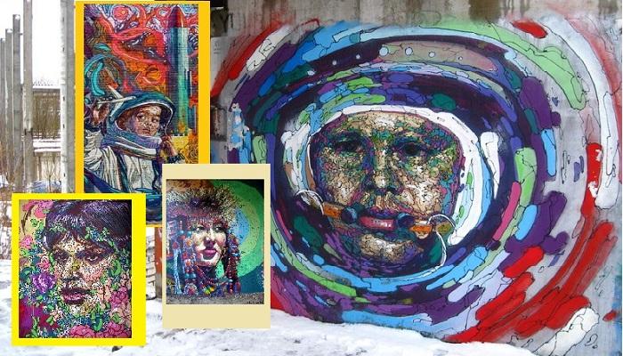 Стрит-арт портреты художника Романа Мураткина.