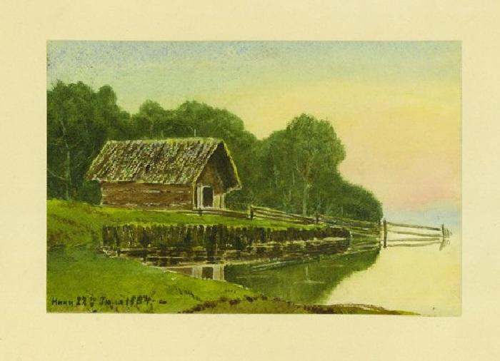 Дом на берегу реки на фоне леса. 1884.