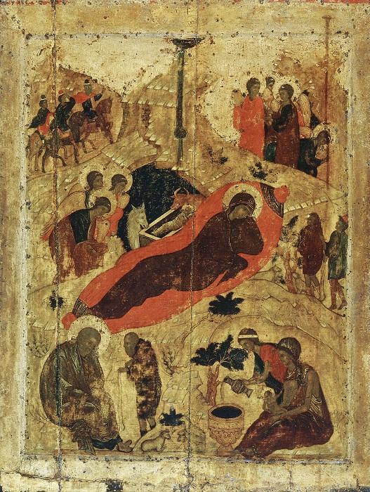 Андрей Рублёв.  Рождество Христово.  1405 год.  Благовещенский собор Московского Кремля.