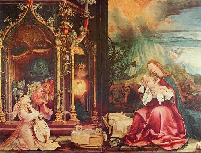 Матис Готхарт Грюневальд.  Инзенгеймский алтарь. Рождество Христово.