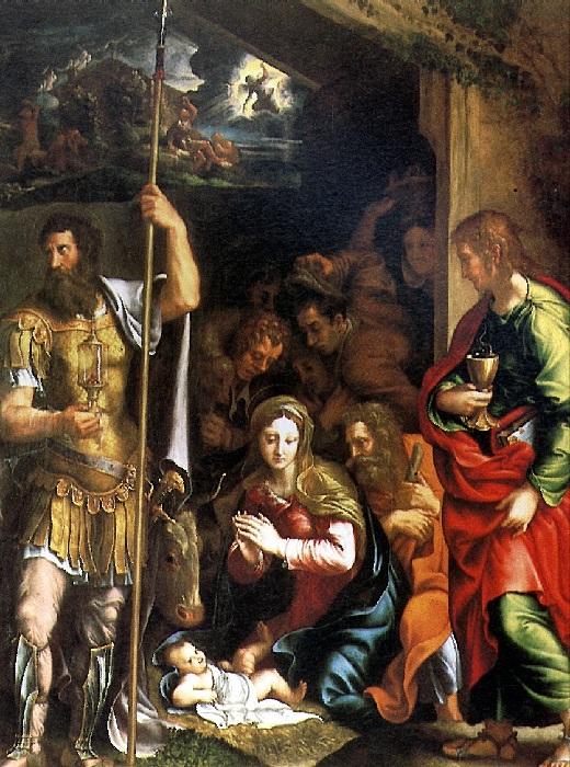 Джулио Романо.  Рождество и поклонение пастухов.  1531-1534.