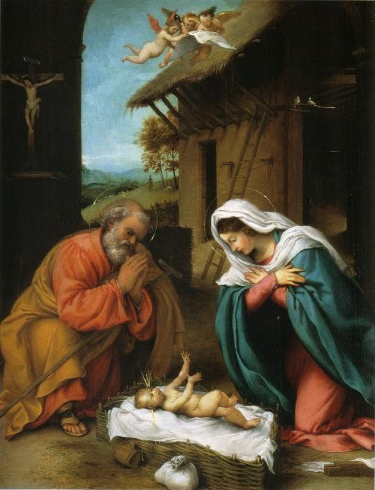 Лоренцо Лотто.  Рождество Христово.