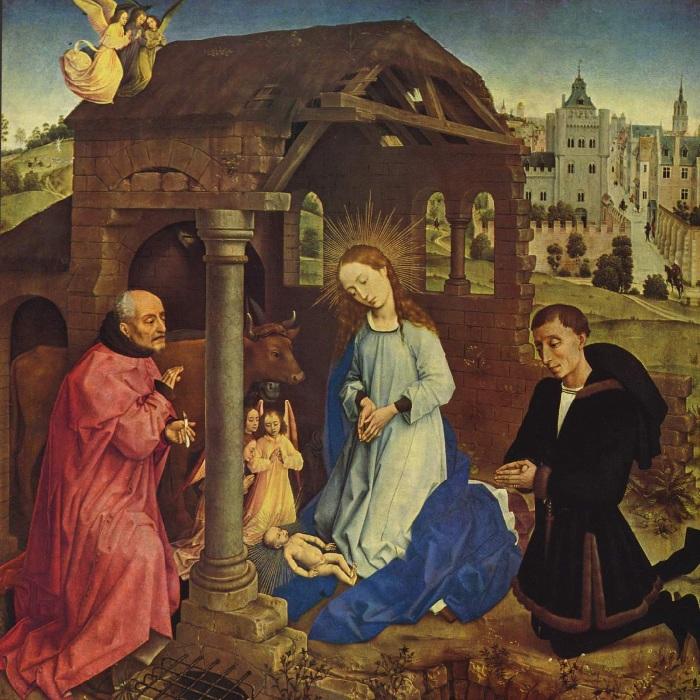 Рогир ван дер Вейден.  Алтарь Бладлена (Миддельбургский алтарь). Рождество Христово.
