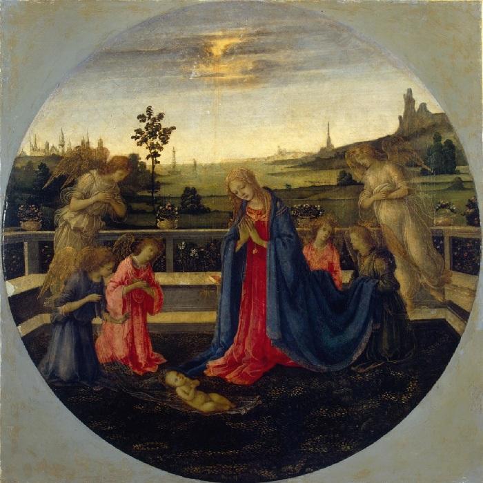 Филиппино Липпи. Поклонение Младенцу Христу около 1480 года, Эрмитаж.