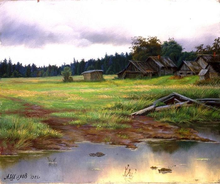 Деревня Астафьево. (1981). Картон, пастель. Автор: Александр Шилов.  | Фото: file-rf.ru/gallery.