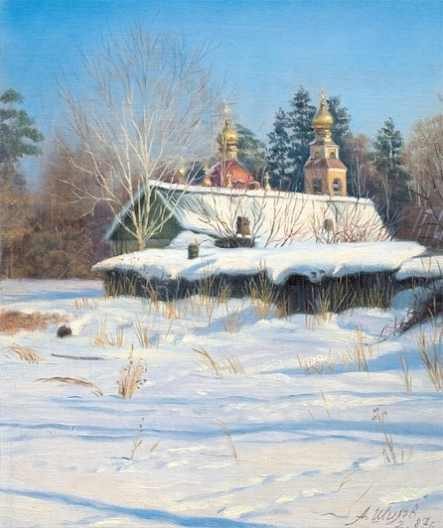 Февраль. Переделкино. (1987). Автор: Александр Шилов. | Фото: file-rf.ru/gallery.