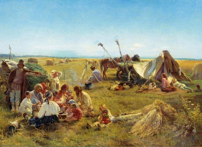 «Крестьянский обед в поле.» (1871). Автор: Маковский Константин Егорович.