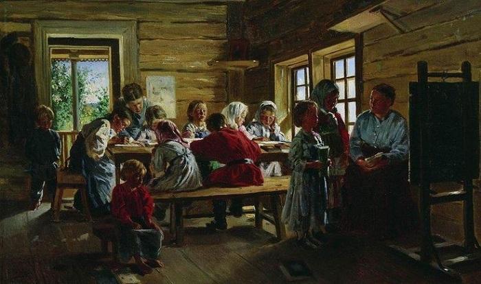 В сельской школе. (1883). Автор: Владимир Маковский.