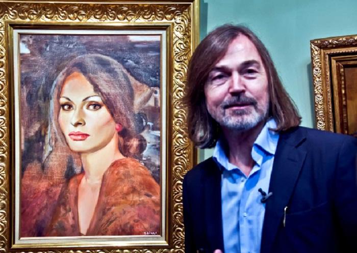 Первый портрет актрисы, написанный Никасом Сафроновым в 1988 году. | Фото: kiokushin-nk.ru