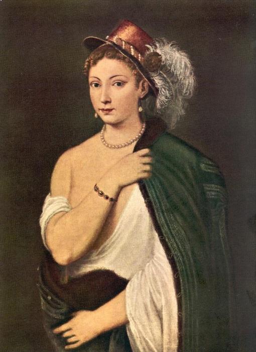 «Портрет молодой женщины в шляпе с пером.»  Автор: Тициан Вечеллио.
