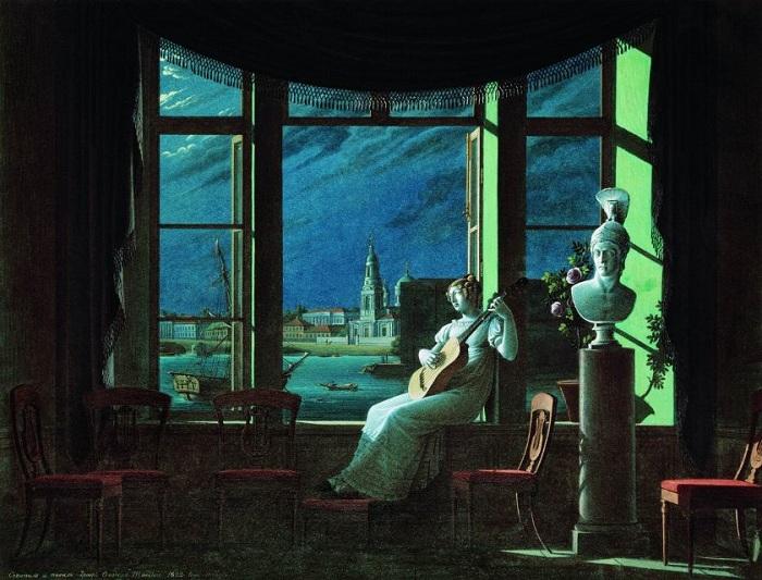 У окна. Лунная ночь. Автор: Толстой Ф.П.